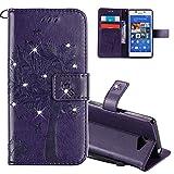 EMAXELERS Sony Xperia M2 Hülle Flip Schale Brieftasche Standfunktion und Karte Halter Etui Kartenfächer Wallet Tasche Etui für Sony Xperia M2,Purple Diamond Wishing Tree