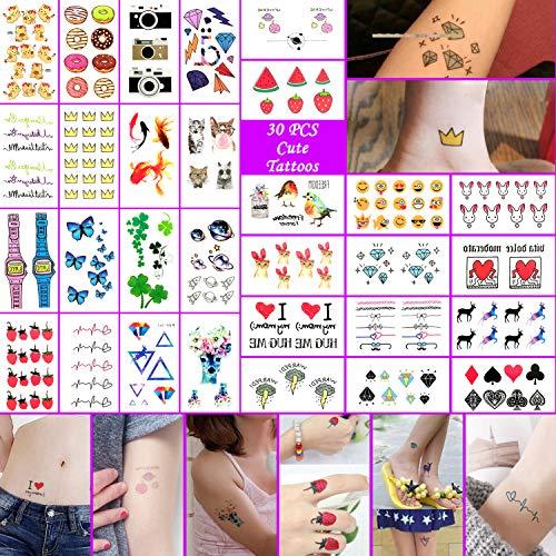 Oottati 30 fogli tatuaggi temporanei tattoo piccola ciambella carina a colori fotocamera cuore elfo fragola pesce dorato farfalla blu corona orologi emoji girls boys