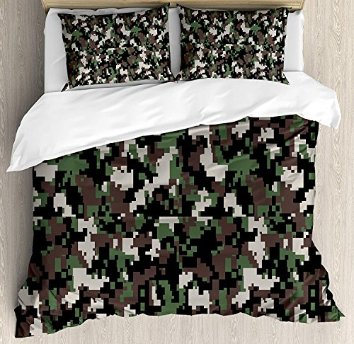 Funy Decor Camo Bettwäsche-Set, Pixelated Pattern, Digitaleffekt, Moderne konzeptuelle Tarnstruktur, dekoratives 4-teiliges Bettwäsche-Set mit 2 Kissenbezügen, Armeegrün/Beige / Braun Queen Multi550 (Xl Camo Twin Bettwäsche)