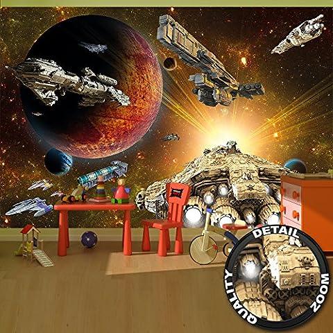 Fototapete Galaxy Adventure - Wandbild Dekoration Raumfahrt-Mission space-shuttle science-fiction Raumschiff Weltraum All Stern I Foto-Tapete Wandtapete Fotoposter Wanddeko by GREAT ART (336 x 238 cm)