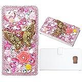 Evtech (tm) de la mariposa Rosa Rhinestone Bling del brillo del estilo del libro del folio de la PU de la carpeta del caso de cuero con el bolso Teléfono Titular y ranuras para tarjetas for Samsung Galaxy S6 Edge Plus S6 Edge+