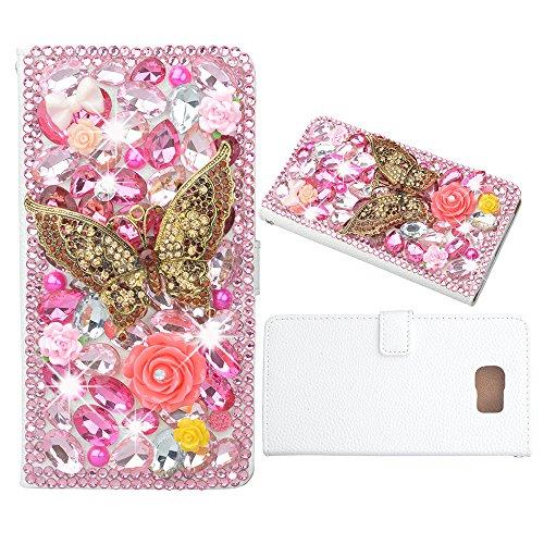 Evtech (TM)-Farfalla Rosa cristallo Strass Glitter Custodia a Libro in Pelle PU Custodia a portafoglio con supporto per telefono e carte di credito, similpelle, Pink, Samsung Galaxy S6 Edge