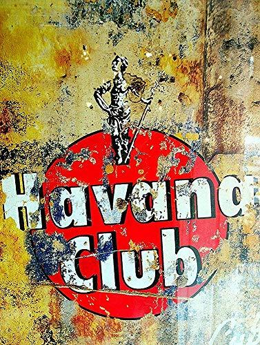 Havana Club Poster Metall Blechschilder Retro Dekoration Schild Aluminium Blechwaren Vintage Wandkunstplakat Zum Cafe Bar Wohnzimmer Zuhause