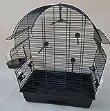 Vogelkäfig Donna schwarz Wellensittichkäfig,Exotenkäfig,Vogelkäfig Vogelbauer Wellensittich Kanarien Voliere Vogelhaus Käfig incl. Badehaus und Trinkröhrchen