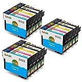 Gohepi T071XL Kompatibel für Tintenpatronen Epson T0711 T0712 T0713 T0714 T0715 Epson Stylus SX110 SX218 SX210 SX415 SX200 SX400 SX600FW SX205 SX410 SX215 SX510W SX100 SX405 S21, Epson Stylus DX4400 DX8400 DX7450 D92 D120 D78 DX5000 DX5050 DX7400 DX8450 DX4450, Epson Stylus Office BX300F BX610FW BX600FW BX310FN B40W - 6 Schwarz/3 Blau/3 Rot/3 Gelb 15er-Pack