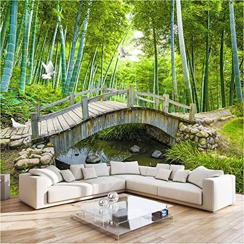 Qqasd Wandbild Tapete Für Wand Benutzerdefinierte 3D Natur Landschaft Fotowand Papierrolle Grün Forest Bridge Wandbild Sofa Hintergrund Tapete-110X90CM - Bridge-foto-bearbeiten