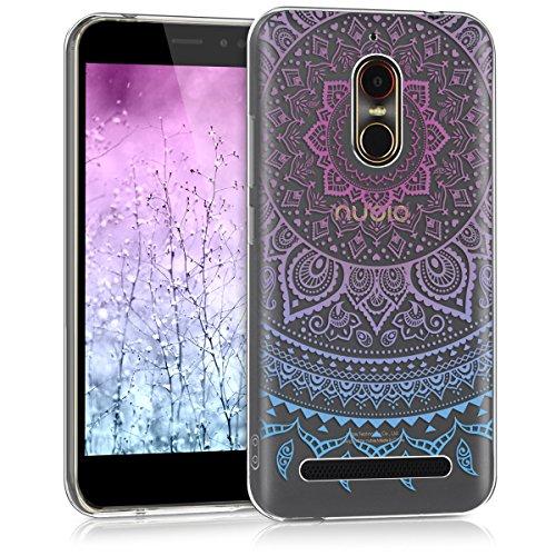kwmobile ZTE Nubia N1 Lite Hülle - Handyhülle für ZTE Nubia N1 Lite - Handy Case in Blau Pink Transparent