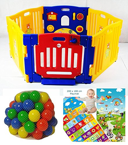 Playpens For Babies 130cm (51 inches) 6 Panels / Includes Soft Foam Colourful Reversible Nonslip Playmat & 100 Coloured Balls / International Shipping