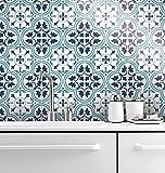 HomeArtDecor | Dekorative Fliesen | Lissabon Wandfliesen und Bodenfliesen | Fliesenaufkleber | Einfach Schälen und Kleben | Geeignet für Küche und Bad | Wasserdicht | Dekoration | 24 Individuelle Fliesen Abziehbilder