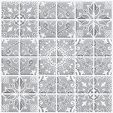 Ecoart Autocollant Carrelage Adhesid 3D Mural Sticker Auto-Adhésif Carreau de Ciment Decoratif Cuisine Salle de Bain Brique (Gris Modèle)