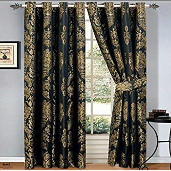 Black gold jacquard lined curtains 90 x 90 - Black and gold living room curtains ...