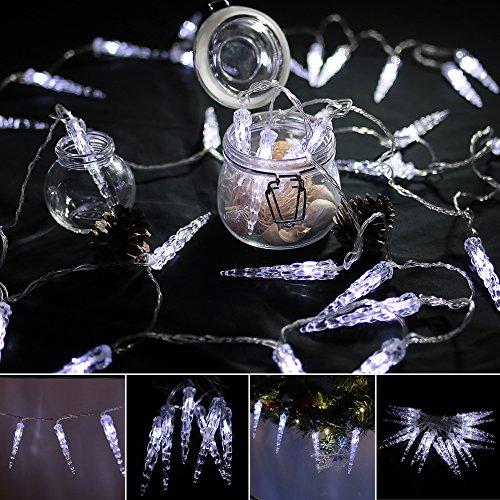 VINGO LED Eiszapfen Eisregen Lichternetz Kaltweiß Lichterkette 31V Weihnachtsdekoration für Weihnachtszeit Party Hochzeit Aussen (10M 40 Leds)
