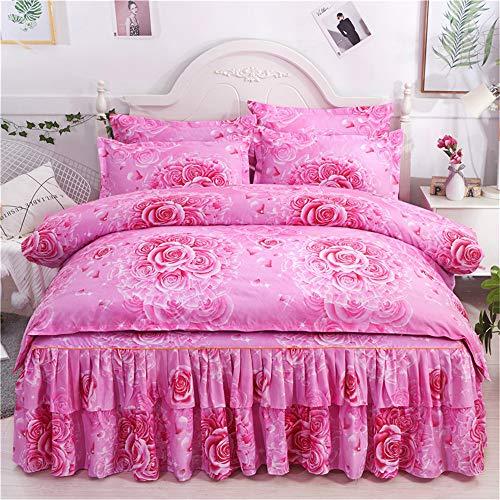 YUNSW Bettwäsche Cotton Deluxe Fliegen Bettbezug Bett Rock Von Pillow Pillow Queen-Size-J King Duvet Cover: 180x220cm, Bettrock: 150x200cm (Queen-size-braun Bett Röcke)