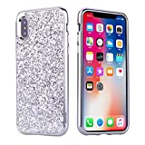 iPhone X Hülle Glitzer, Huphant [2 in 1] iPhone XS Handyhülle Sparkle Phone Case Stoßfest Ultra Slim Anti-Scratch Hard PC Case Stoßfänger Rückseitige Abdeckung for iPhone XS/X - Silber