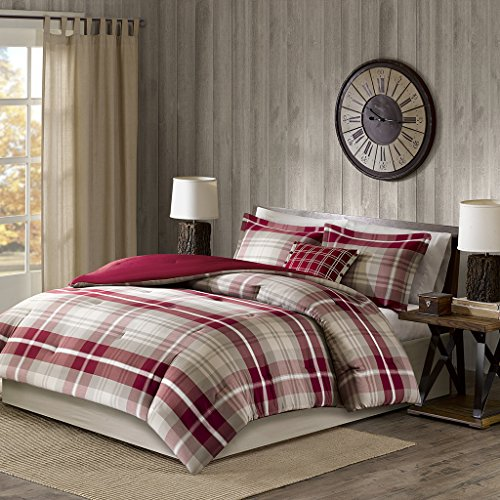 Woolrich Comforter Set, Tan/Red, Full