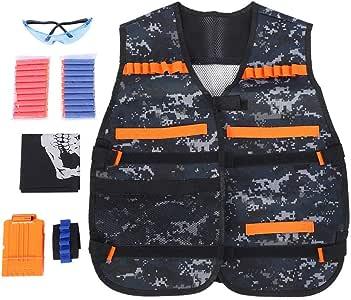 Zyyini Gilet per Bambini Toy Vest, elmetto tattico Elite Gilet Addensato per Nerfs Clip Jacket Foam Dart Proiettile per proiettili Camouflage per Nerfs N-Strike