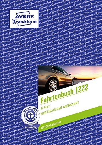 Avery Zweckform 1222 Fahrtenbuch(für PKW, A5, Recycling, 32 Blatt) weiß
