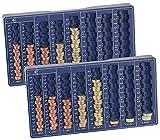 PEARL Zählbrett: 2er-Set Euro-Münzbretter für alle Euro- und Cent-Münzen (Geld Sortierer)