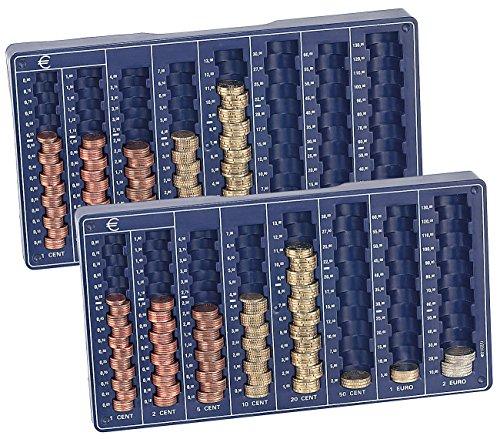 PEARL Münz Sortierer: 2er-Set Euro-Münzbretter für alle Euro- und Cent-Münzen (Münzsortierer-Zählbretter)