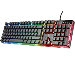 Trust Gaming GXT 835 Azor Teclado Retroiluminado Layout español (3 Modos de Color LED, Anti-Ghosting, 12 Teclas para Funcione