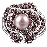 Violette Rose Valentinstag Nachahmung Perlenring Strass Blumen Frauen Schmuck (60 (19.1))