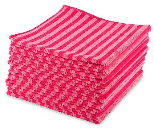 MJ Texpia, Mikrofaser Borstentücher, 40cmx40cm, 390g/sqm, Rot (10-er Pack)