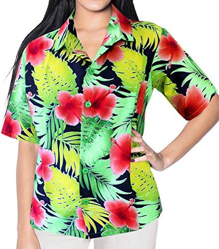 La Leela Likre Schuh Blumenblatttasche Hawaii Hemd Frauen Haut Casuals Rot XXL (Hawaiian Luau Schuhe)