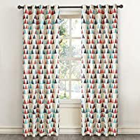 """Dreaming Casa Curtains Blackout Printed Room Darkening Window Treatment Eyelet Red Blue Black Triangle Patterned Curtains for Living room Kitchen Curtains Draperies 2 Panels 46"""" x 72"""" drop"""