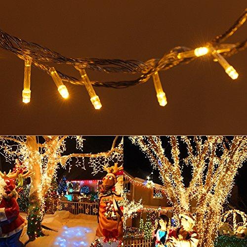 Esterno / Interno natalizia 10m 32.8ft bianco caldo con 100 LED bianco caldo su Clear (Bianca Leggiadramente Solare Luce)