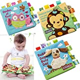 Baby-Tuch-Buch, Tier-Weiches Tuch (Ungiftig) Baby-Intelligenz-Entwicklungs-Lern-Bild-Kognitives Buch, Frühes Lernen der Kinder Pädagogisches Spielzeug,2