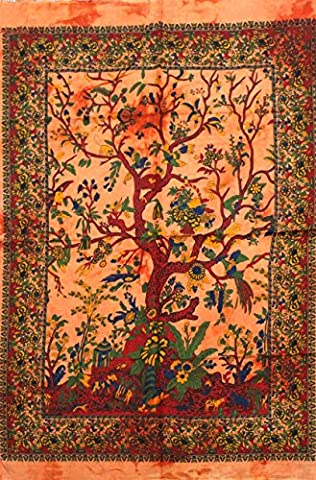 Orange Tree Indian Wall Hanging Cotton Boho Tapestry Poster Size Décor Throw 42 x 30 Inches (Posters