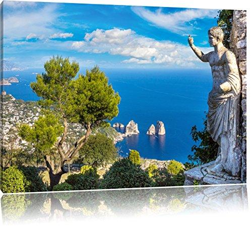 Insel Capri in Italien, Format: 120x80 auf Leinwand, XXL riesige Bilder fertig gerahmt mit Keilrahmen, Kunstdruck auf Wandbild mit Rahmen, günstiger als Gemälde oder Ölbild, kein Poster oder Plakat -