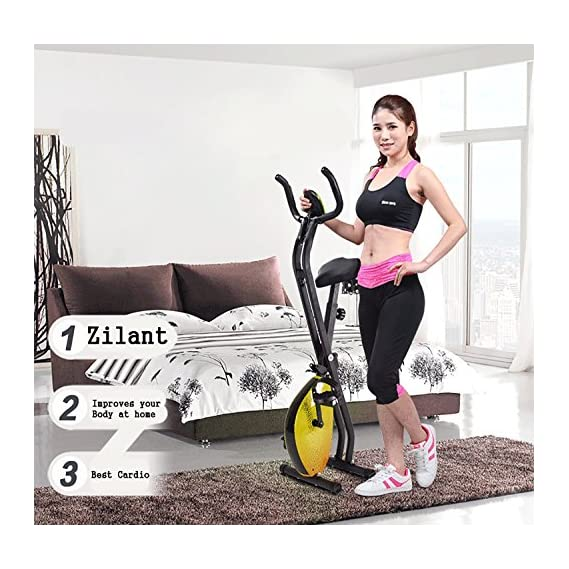 OnlineWorld Unisex Fitness Exercise Bike with Folding Magnetic Pedal for Home, Free Size (Yellow,on-yellow-cycle)