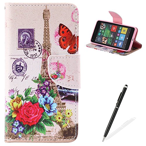 Feeltech Microsoft Lumia N640 Hülle [Berühren Sie Stift] Elegant PU Leder Tasche Magnetverschluss Ultra Schlanke hülle Gemalte Colour Muster Design Mit Back Cover Etui Skin Shell Purse hülle Standfunk Effier Tower