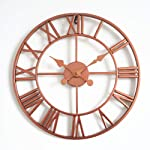 Vintage Style Wall Clock Living Room Bedroom Wall Decoration Creative Clock Rose Gold Clock Single Round Wrought Iron...