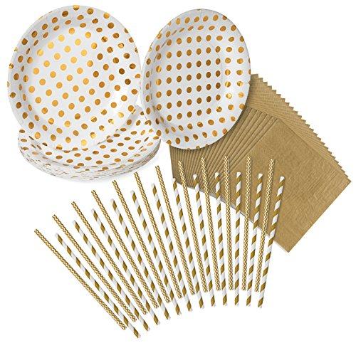 n Teller, 24 Gold Servietten, 24 Papier Trinkhalme - von Haute Soiree (Thanksgiving-papier, Geschirr)
