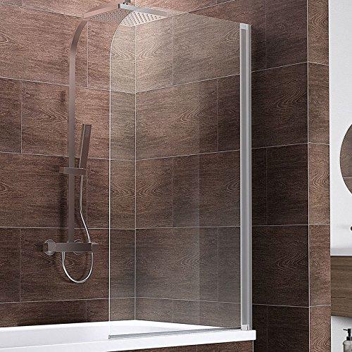 Schulte Duschwand Berlin, 80x140 cm, 5 mm Sicherheitsglas klar, alu-natur, Duschabtrennung für Badewanne