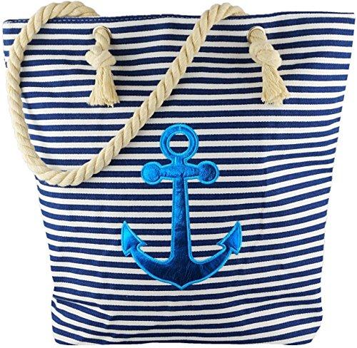 Strandtasche Badetasche Einkaufstasche Damen Handtasche Picknicktasche Maritim Anker Blau Marineblau Weiß Gestreift mit Kordel inkl. Einkaufswagen Chip