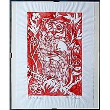 Il Gufo rosso, linografia -Incisione artistica originale di Davide Pacini stampata a mano dimensioni cm 20,9x29,8 cm+Cornice a giorno.Made in Italy,toscana Lucca.