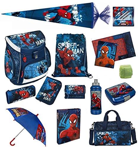 Spiderman Schulranzenset 21-tlg. Schultüte, Sporttasche, Schüleretui gefüllt, Regen/Sicherheitshülle SPON8251