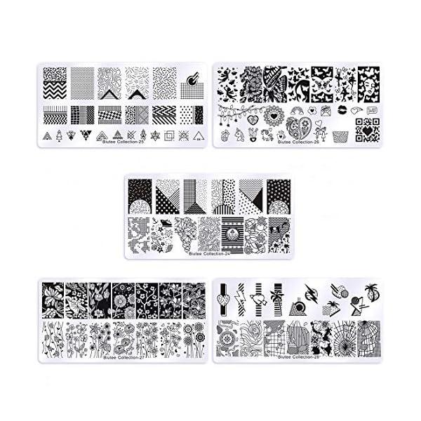 Biutee Set de Nail Art Stamping 5pcs Plantilla para Uñas Placa Estampación para uña para Manicura +1pcs Sello de…