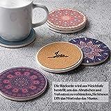 DINGHENG Untersetzer Saugfähige Keramik Untersetzer mit Korkrücken Mandala Stil für Tassen Tisch Bar Glas 6er Set - 2
