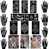 XMASIR 16 vellen Hand Shape Henna Tattoo Stencil Tijdelijke Tattoo sjablonen, Indiase Arabische Zelfklevende Tattoo Stencils