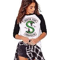 QQI Primavera e Autunno Riverdale-South Side Serpents Stampa Donna Casual T-Shirt a Maniche Lunghe Morbido e…