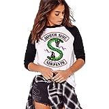Costura en Blanco y Negro Moda Riverdale-South Side Serpents Camiseta Estampada de Manga Larga para Mujer Cuello Redondo Top