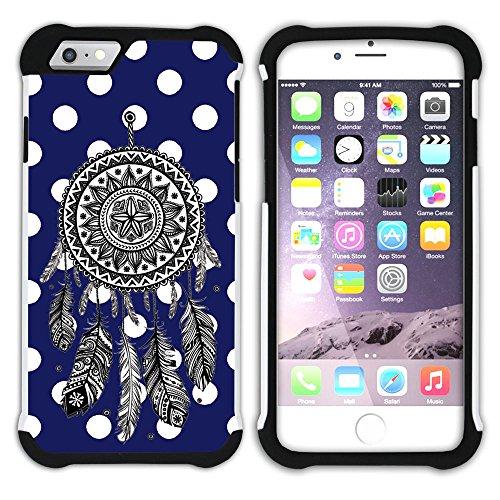 Graphic4You Traumfänger Punktmuster Tupfen Muster (Gelb) Hart + Weiche Kratzfeste Hülle Case Schale Tasche Schutzhülle für Apple iPhone 6 Plus / 6S Plus Marineblau