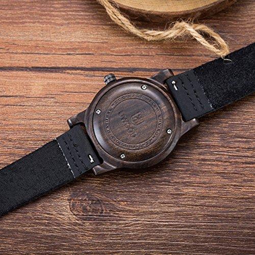 MUJUZE Herren Analoge Japanisch Quarzwerk 40mm Sandelholz Ziffernblatt Holzuhren  mit Schwarz Leder Armband - 5