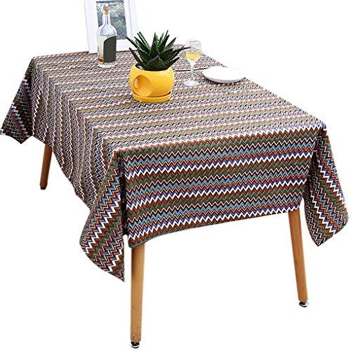 Providethebest Mediterranea-Art-Muster Tischdecke Rectangle Cotton Linie Fabrics Heim Tabelle Tuch-Abdeckung 140x200cm