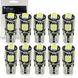 Safego 10 x LAMPADINE T10 W5W LED 194 168 cuneo Tipo 5 SMD 5050 bianco LED luci dell'automobile Bulb 12V diretto Replacment e Reverse Auto RV per Interni Segnale Segnale cuneo Tipo