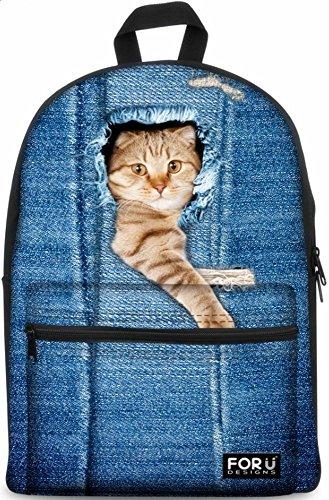 Imagen de designs4u   estilo casual ligera con diseño de ropa vaquera,  para la escuela adecuada para portátiles de 15,6 pulgadas color azul negro denim 4
